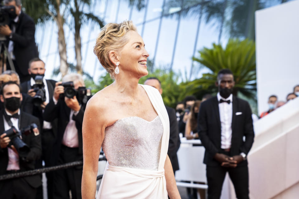 Sharon Stone dazzled in Dolce & Gabbana on the red carpet at the glamorous French film festival. (Getty Images)