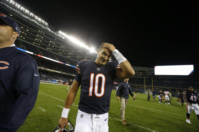 Mitch Trubisky threw three times in the final 70 seconds of the Bears' final preseason game. (AP)