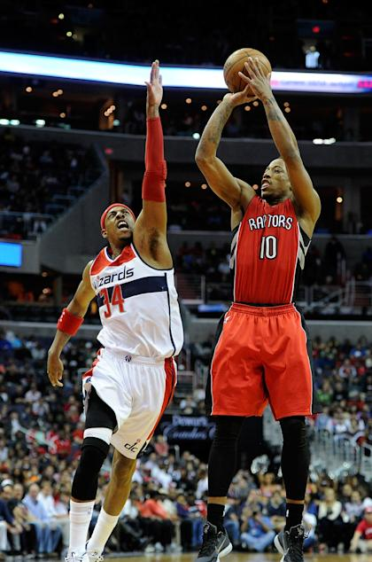 WASHINGTON, DC - APRIL 26:  DeMar DeRozan #10 of the Toronto Raptors shoots the ball over Paul Pierce #34 of the Washington Wizards in the first quarter of Game Four of the Eastern Conference Quarterfinals of the NBA playoffs at Verizon Center on April 26, 2015 in Washington, DC. NOTE TO USER: User expressly acknowledges and agrees that, by downloading to the terms and conditions of the Getty Images License Agreement. (Photo by Greg Fiume/Getty Images)