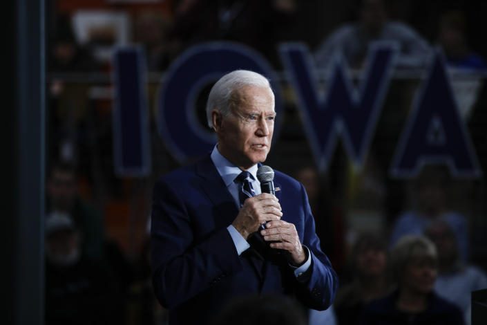 Former Vice President Joe Biden speaks during a Democratic primary campaign event at Iowa Central Community College, Tuesday, Jan. 21, 2020, in Fort Dodge, Iowa. (Photo: Matt Rourke/AP)