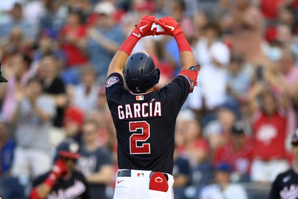 Washington Nationals' Luis Garcia celebrates his home run against the Chicago Cubs during the second inning of a baseball game Friday, July 30, 2021, in Washington. (AP Photo/Nick Wass)