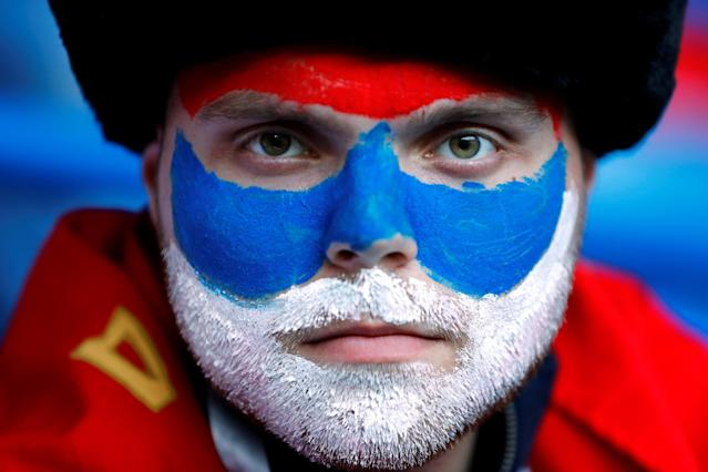 Soccer Football - World Cup - Group E - Serbia vs Switzerland - Kaliningrad Stadium, Kaliningrad, Russia - June 22, 2018 Serbia fan inside the stadium before the match REUTERS/Fabrizio Bensch TPX IMAGES OF THE DAY