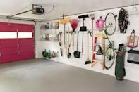 """<p>Now here's a garage that knows how to clean up nicely. Interior designer Annie Selke worked with <a href=""""https://www.gladiatorgarageworks.com/"""" rel=""""nofollow noopener"""" target=""""_blank"""" data-ylk=""""slk:Gladiator Garage"""" class=""""link rapid-noclick-resp"""">Gladiator Garage</a> to add work stations, wall storage, shelves, and lockers. </p><p><em><a href=""""https://www.housebeautiful.com/home-remodeling/renovation/tips/g841/makeover-annie-selke-part-3/"""" rel=""""nofollow noopener"""" target=""""_blank"""" data-ylk=""""slk:See more at House Beautiful »"""" class=""""link rapid-noclick-resp"""">See more at House Beautiful »</a> </em></p><p><strong>What you'll need: </strong>bike hook, $22, <a href=""""https://www.gladiatorgarageworks.com/products-1/hooks,-baskets-&-bins-2/hooks,-baskets-&-bins-3/-%5bGAWUXXHBTG%5d-1700211/GAWUXXHBTG/"""" rel=""""nofollow noopener"""" target=""""_blank"""" data-ylk=""""slk:Gladiatiorgarageworks.com"""" class=""""link rapid-noclick-resp"""">Gladiatiorgarageworks.com </a></p>"""