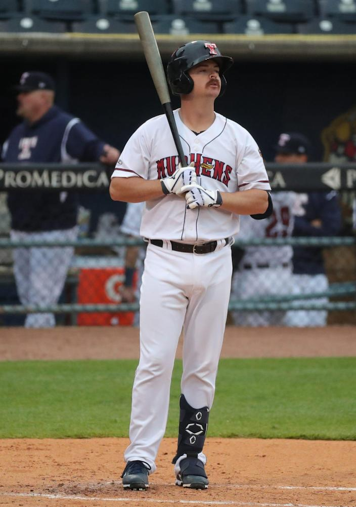 Toledo Mud Hens catcher Jake Rogers bats against the Nashville Sounds Tuesday May 4, in Toledo, OH.