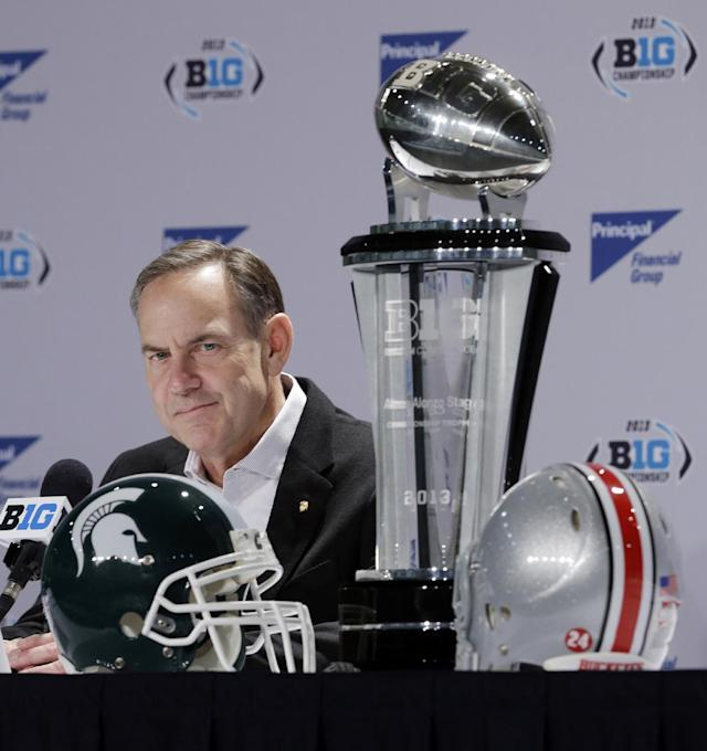 Michigan State head coach Mark Dantonio listens to a question during a news conference for the Big Ten Conference championship NCAA college football game Friday, Dec. 6, 2013, in Indianapolis. Ohio State will play Michigan State, Saturday for the championship. (AP Photo/Darron Cummings)