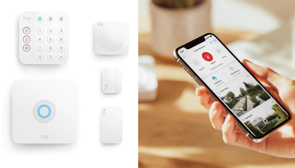 This Ring home security system syncs up to your iPhone or Android phone. (Photo: Lowe's)