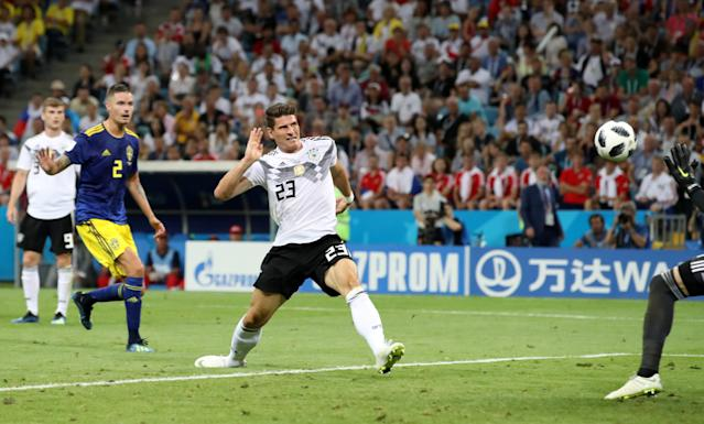 Soccer Football - World Cup - Group F - Germany vs Sweden - Fisht Stadium, Sochi, Russia - June 23, 2018 Germany's Mario Gomez in action REUTERS/Francois Lenoir