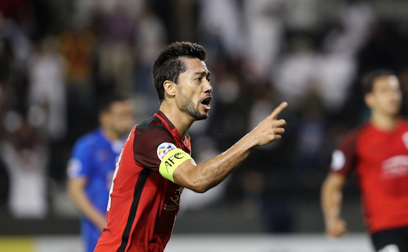 Qatar's Al-Rayyan SC's Qatari-Brazilian midfielder and captain Rodrigo Tabata celebrates after scoring a goal against Iran's Esteghlal FC, during their Asian Champions League football match at Jassim Bin Hamad Stadium in the Qatari capital oha on February 13, 2018. / AFP PHOTO / KARIM JAAFAR (Photo credit should read KARIM JAAFAR/AFP via Getty Images)
