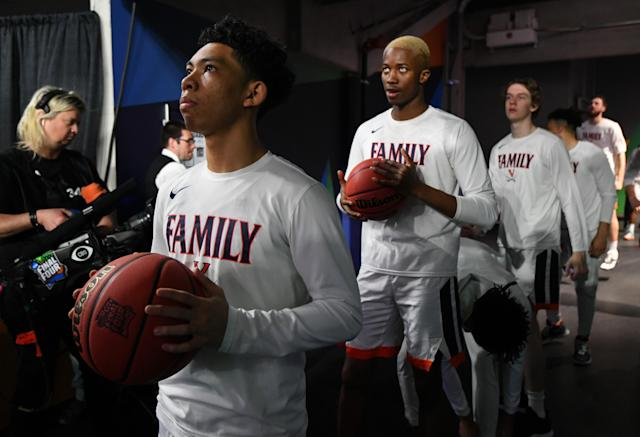 Kihei Clark #0 of the Virginia Cavaliers waits to take the court before the game against the Texas Tech Red Raiders in the 2019 NCAA men's Final Four National Championship game at U.S. Bank Stadium on April 08, 2019 in Minneapolis, Minnesota. (Photo by Jamie Schwaberow/NCAA Photos via Getty Images)