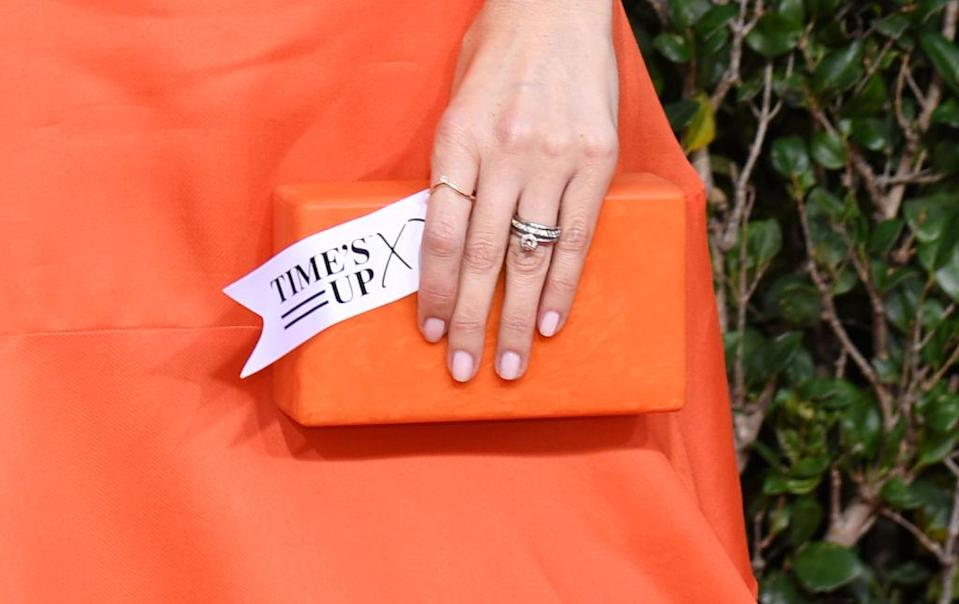 Celebrities showed their support for the Time's Up movement for a second year running. Pictured here D'Arcy Carden [Photo: Getty]