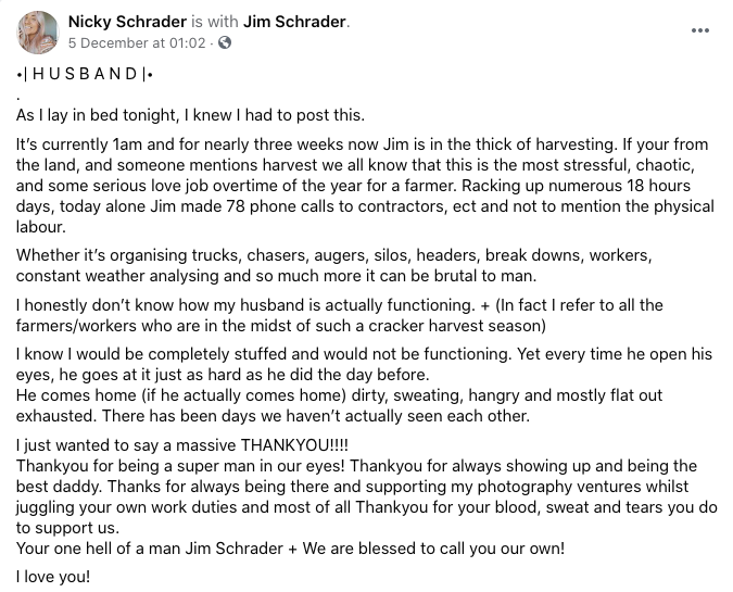 A screenshot of Nicky Schrader's Facebook post to her husband, who is a farm manager.