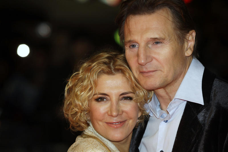 ** FILE ** In an Oct. 17, 2008 file photo actors Liam Neeson, right, and his wife Natasha Richardson arrive for The Times BFI London Film Festival in London. Richardson, 45, died Wednesday March 18, 2009 in New York after suffering an apparent head injury from a skiing accident in Canada on Monday. (AP Photo/Joel Ryan, File)