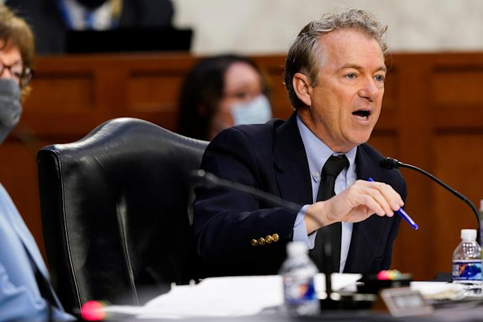 <p>Rand Paul says he will not get vaccinated for Covid-19, flouting the advice of medical experts</p> (AP)