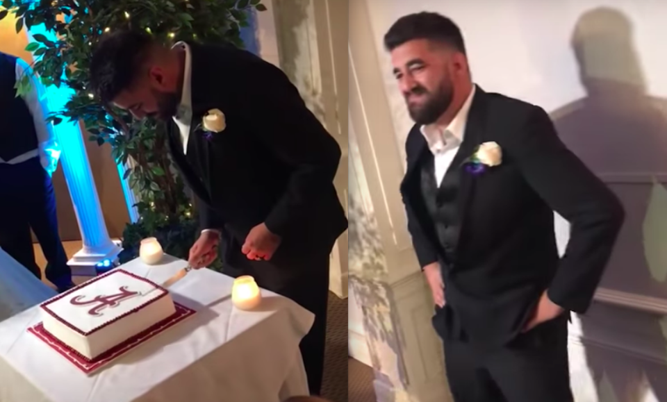 One Alabama fan got pranked by his wife on their wedding day. (Screengrab via New Orleans Tours Center on Youtube)