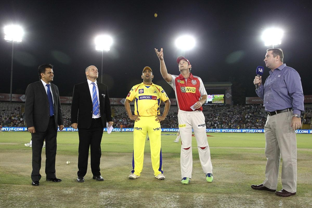 Chennai Super Kings captain MS Dhoni calls as Kings XI Punjab captain Adam Gilchrist tosses the coin during match 11 of of the Pepsi Indian Premier League between The Kings XI Punjab and the Chennai Superkings held at the PCA Stadium, Mohal, India  on the 10th April 2013..Photo by Shaun Roy-IPL-SPORTZPICS  ..Use of this image is subject to the terms and conditions as outlined by the BCCI. These terms can be found by following this link:..https://ec.yimg.com/ec?url=http%3a%2f%2fwww.sportzpics.co.za%2fimage%2fI0000SoRagM2cIEc&t=1490250709&sig=EUJSm47o5Ng6ByONg22s4Q--~C