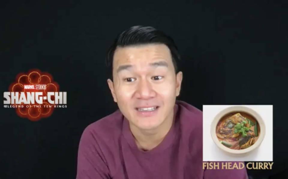Simu Liu and Ronny Chieng, stars of Shang-chi And The Legend Of The Ten Rings, on what Singaporean dishes they would eat. One of the dishes Ronny picked was fish head curry.