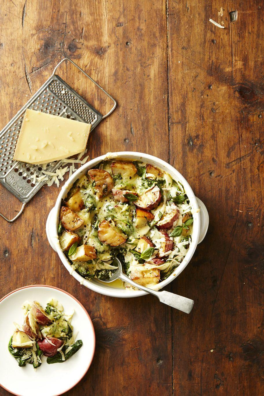 """<p>Spinach and fennel keep this dinner-party worthy dish just on the right side of healthy.</p><p><em><a href=""""https://www.goodhousekeeping.com/food-recipes/a42223/spinach-gruyere-potato-casserole-recipe/"""" rel=""""nofollow noopener"""" target=""""_blank"""" data-ylk=""""slk:Get the recipe for Spinach and Gruyere Potato Casserole »"""" class=""""link rapid-noclick-resp"""">Get the recipe for Spinach and Gruyere Potato Casserole »</a></em></p>"""