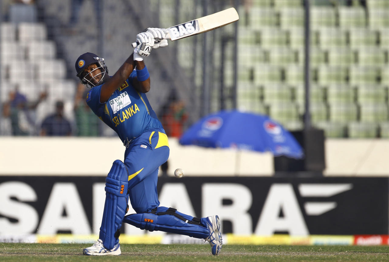 Sri Lanka's Angelo Mathews plays a shot during the second one day international (ODI) cricket match against Bangladesh in Dhaka, Bangladesh, Thursday, Feb. 20, 2014. (AP Photo/A.M. Ahad)
