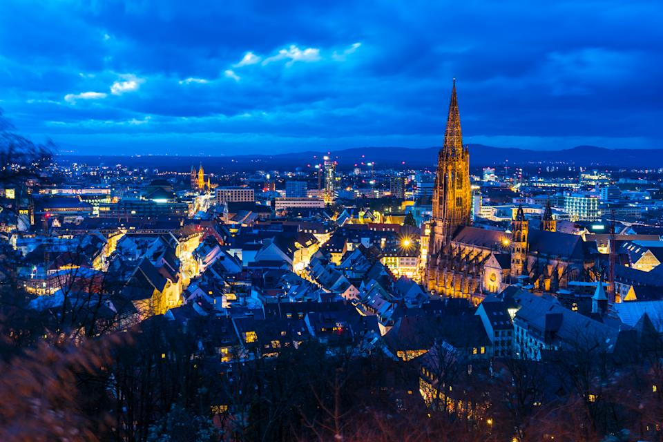 Germany, Magic city freiburg im breisgau and famous minster from above
