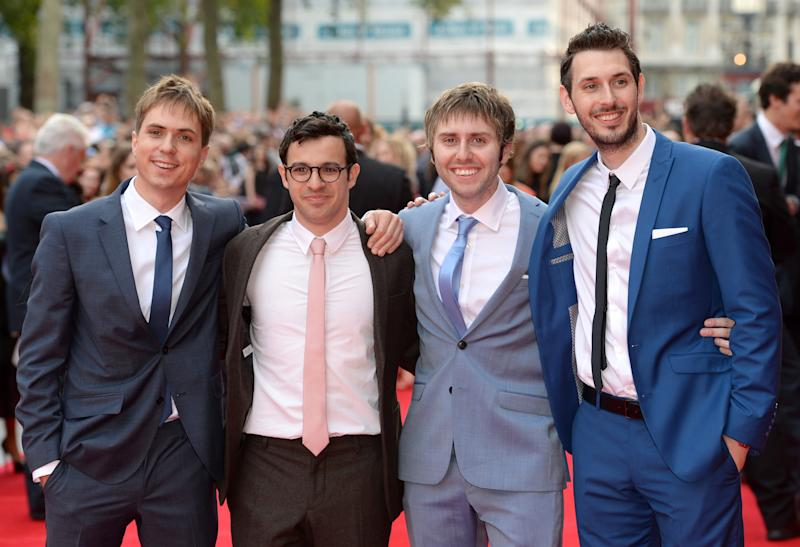 Joe Thomas, Simon Bird, James Buckley and Blake Harrison arriving at The Inbetweeners 2 World Premiere, Vue Cinema, Leicester Square.