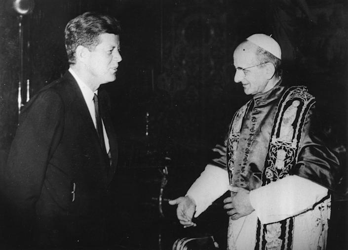 """John F. Kennedy, the nation's first Roman Catholic President, greets the newly elected Pope Paul VI at the Vatican in July 1963<span class=""""copyright"""">Keystone/Getty Images</span>"""