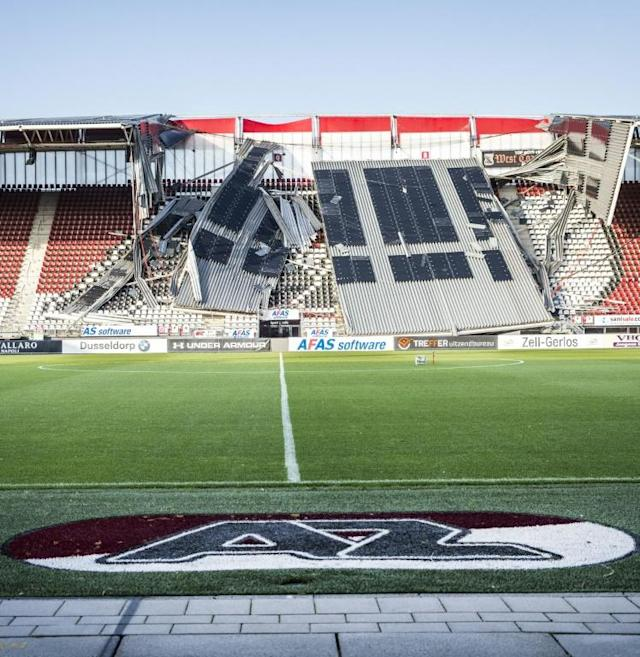 A view of a section of the collapsed stand at AZ Alkmaar's AFAS Stadium (AFP Photo/Vincent Jannink)