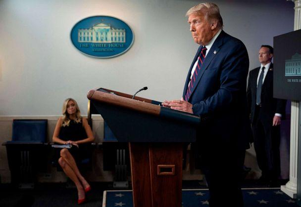 PHOTO: President Donald Trump speaks during the renewed briefing of the Coronavirus Task Force, July 21, 2020, in Washington, DC. (Jim Watson/AFP via Getty Images)