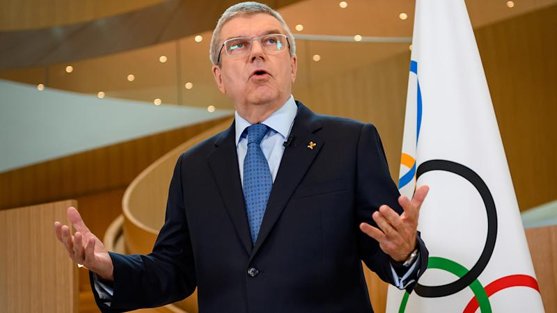 International Olympic Committee President Thomas Bach, pictured here addressing the media.
