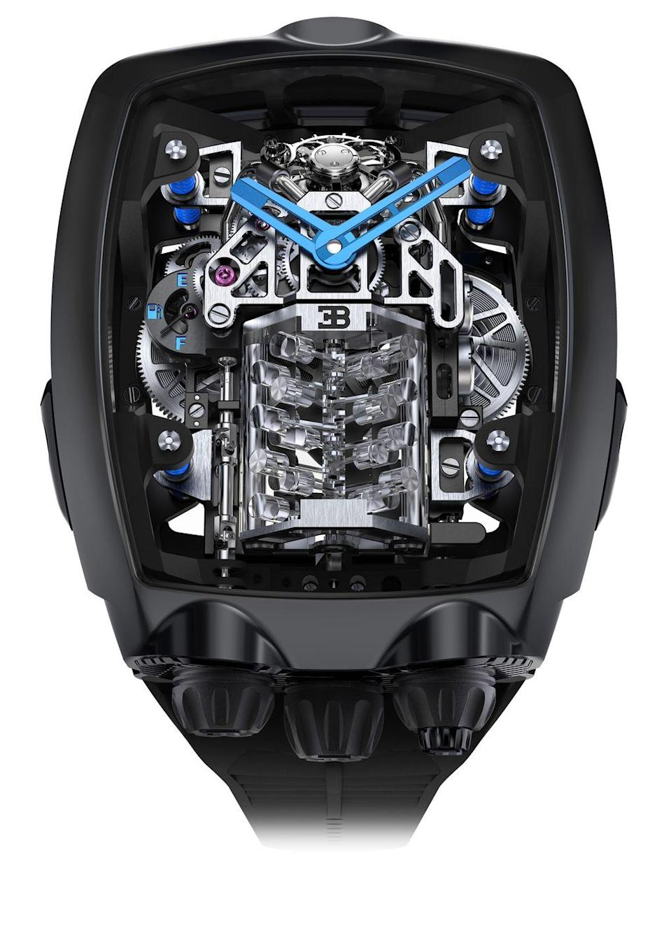 "<p>Leave it to Jacob Arabo to recreate the visceral sensation of the iconic Bugatti 16-Cylinder engine in a timepiece. The Bugatti Chiron Tourbillon was inspired by the sleek lines of the car and its powerful engine, and when the watch's right-hand crown is pushed, it comes to life like the car's motor: the crankshaft turns and the pistons pump up and down and two ""turbochargers"" spin while the movement runs, adding visual impact. It's a miniaturized machine under a transparent sapphire case. <em>($280,000)</em></p><p><a class=""link rapid-noclick-resp"" href=""http://jacobandco.com/"" rel=""nofollow noopener"" target=""_blank"" data-ylk=""slk:Learn More"">Learn More</a><br></p>"
