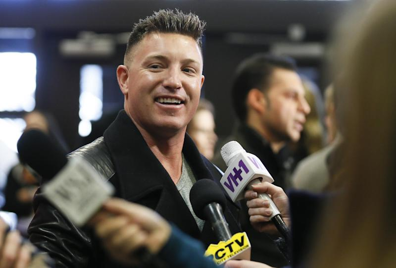 """Cast member Lane Garrison is interviewed at the premiere of the film """"Camp X-Ray"""" during the 2014 Sundance Film Festival, on Friday, Jan. 17, 2014 in Park City, Utah. (Photo by Danny Moloshok/Invision/AP)"""