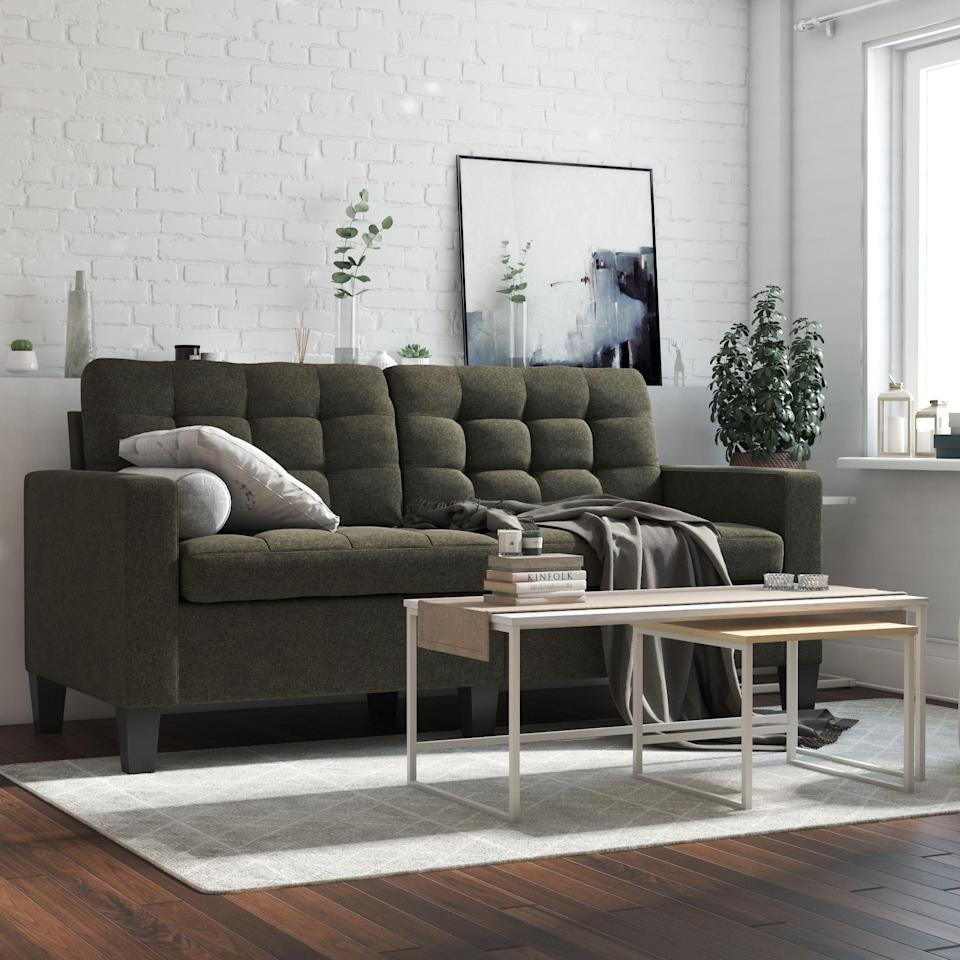 <p>This <span>DHP Emily Upholstered Sofa</span> ($336) adds an elevated touch to any room.</p>