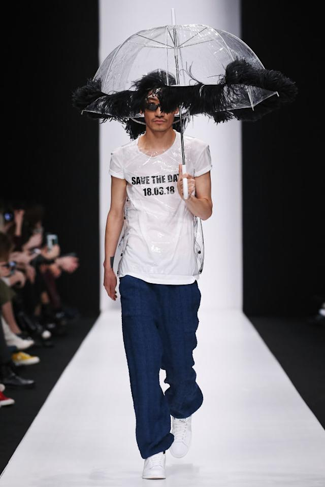 "<p>Another model wears the political statement tee that reads ""Save the Date, 18.03.18"" at the Atelier Gala B runway show during Mercedes-Benz Fashion Week Russia. (Photo: Getty Images) </p>"
