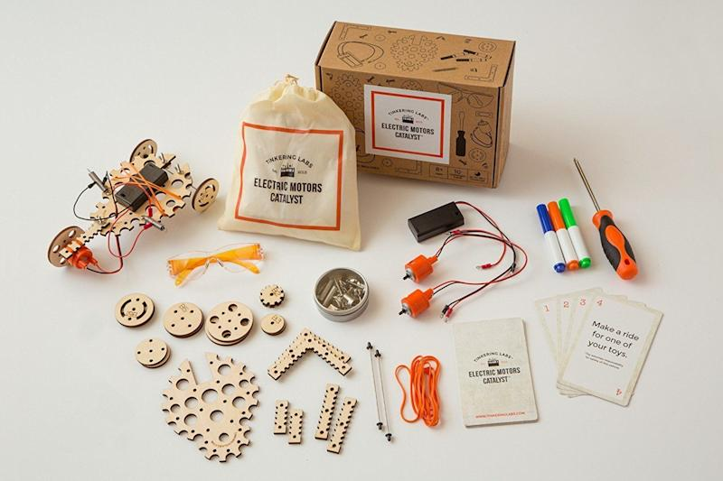 """The possibilities are endless with this<a href=""""https://www.amazon.com/Tinkering-Labs-Electric-Motors-Catalyst/dp/B01M5GJFQ1"""" target=""""_blank"""">design driven toy</a>that comes withmotors, various shapes, and multiple connectors."""
