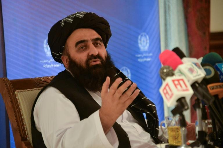"""Afghanistan's Acting Foreign Minister Amir Khan Muttaqi, pictured at the foreign ministry in Kabul on September 14, 2021, says the Taliban seek """"positive relationships"""" with the world (AFP/Hoshang Hashimi)"""