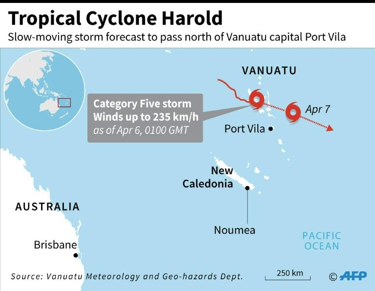Map locating Tropical Cyclone Harold which intensified to a category five storm as it hit Vanuatu on Monday. (AFP Photo/AFP )