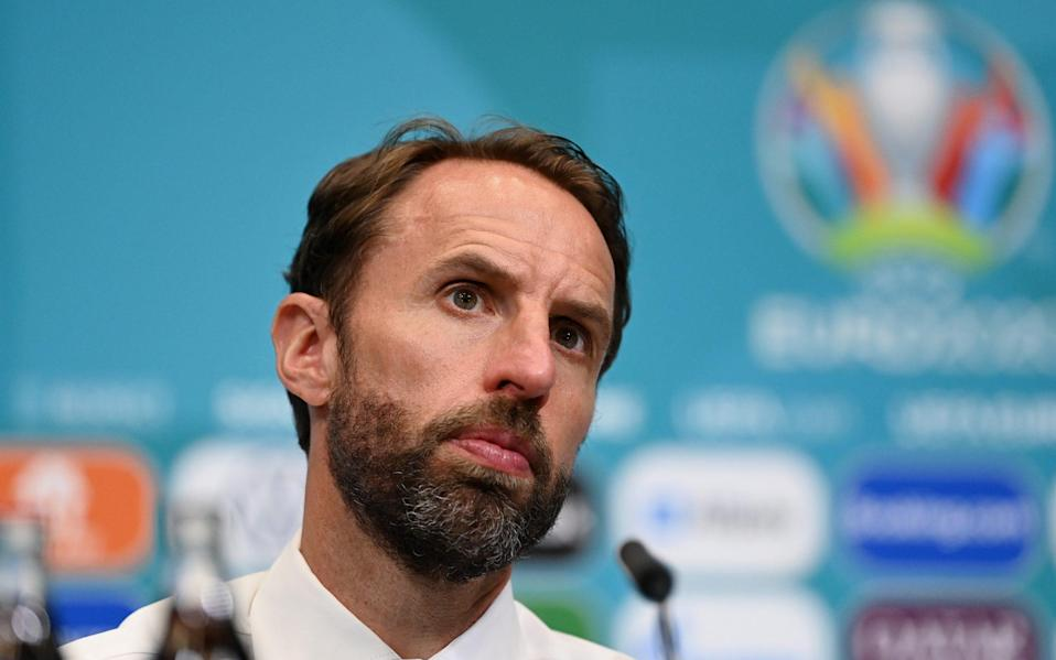 In this Handout picture provided by UEFA, Gareth Southgate, Head Coach of England speaks to the media during the Croatia press conference after the UEFA Euro 2020 Championship Group D match between England and Croatia at Wembley Stadium on June 13, 2021 in London, England - UEFA/UEFA via Getty Images