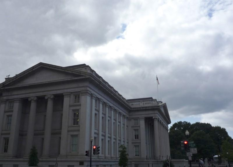 The U.S. Treasury building is seen in Washington