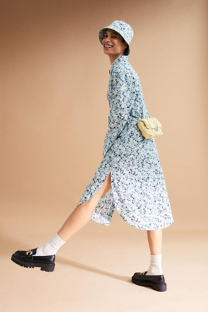 <p>The long and flowy shape of this <span>H&amp;M Shirt Dress</span> ($20) makes it super-wearable. You can rock it with loafers or sneakers for a relaxed look. Add a matching bucket hat if you're feeling bold.</p>