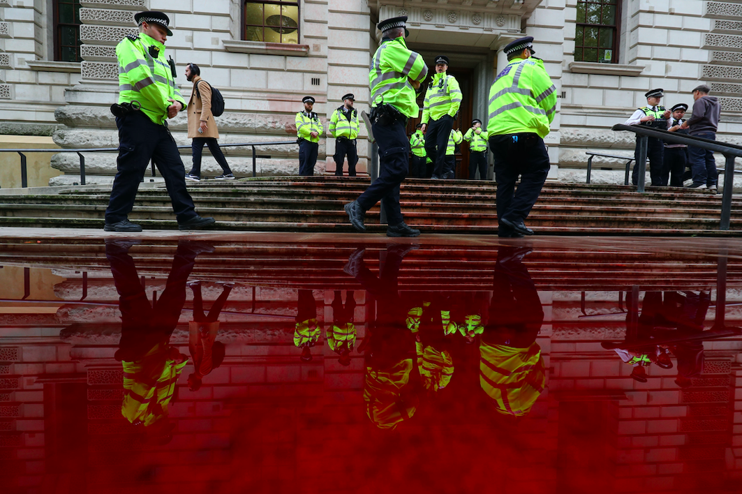 The ground was left swimming in the red liquid (PA)