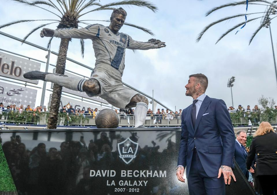 The LA Galaxy unveiled a statue of former star David Beckham outside their home stadium. (Associated Press)