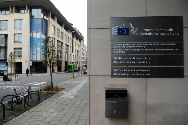 FILE PHOTO: The building of the European Commission's Directorate-General for Taxation and Customs, in Brussels
