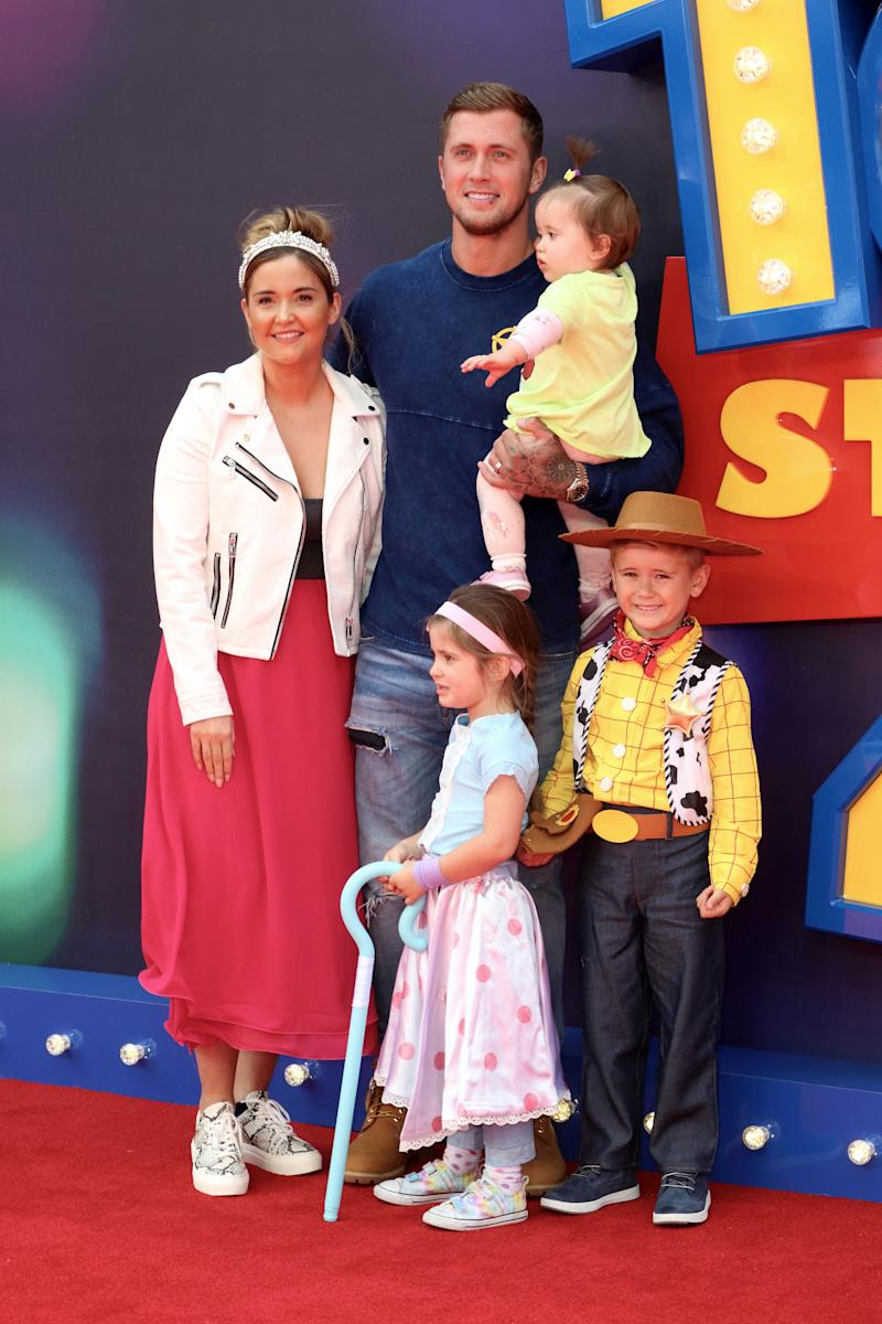 Jacqueline Jossa and family attend the European Premiere of Toy Story 4 at Odeon Luxe, Leicester Square in London. (Photo by Keith Mayhew / SOPA Images/Sipa USA)