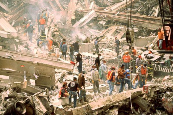 PHOTO: Firefighters search for survivors at the wreckage of the World Trade Center Towers on Sept. 12, 2001, after a terrorist attack in New York. (Gifford Porter/Gamma-Rapho via Getty Images, FILE)