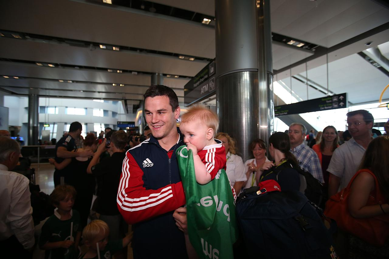 British and Irish Lions' Jonathan Sexton at Dublin Airport following their series win over Australia. ASSOCIATION Photo. Picture date: Wednesday July 10, 2013. See PA story RUGBYU Lions. Photo credit should read: Julien Behal/PA Wire.