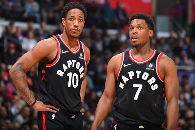"<a class=""link rapid-noclick-resp"" href=""/olympics/rio-2016/a/1128527/"" data-ylk=""slk:DeMar DeRozan"">DeMar DeRozan</a> and <a class=""link rapid-noclick-resp"" href=""/nba/players/4152/"" data-ylk=""slk:Kyle Lowry"">Kyle Lowry</a> are sharing the ball more this season. (Getty)"