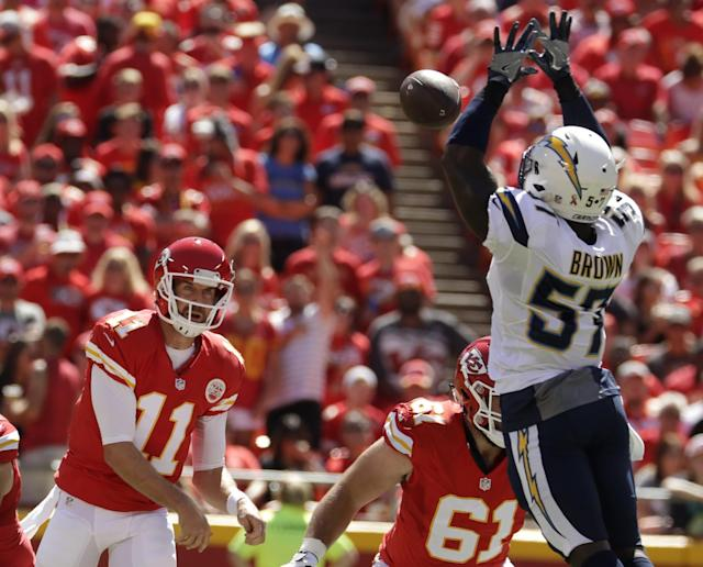 <p>San Diego Chargers linebacker Jatavis Brown (57) blocks a throw by Kansas City Chiefs quarterback Alex Smith (11) during the first half of an NFL football game in Kansas City, Mo., Sunday, Sept. 11, 2016. (AP Photo/Charlie Riedel) </p>
