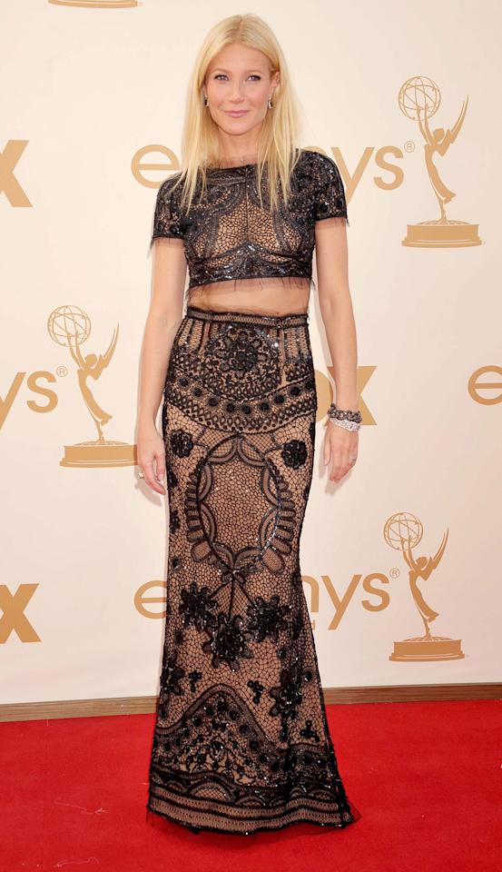 <em><strong>Andrea Lavinthal, Style and Beauty Director:</strong></em> It's hard to remember a time when wearing a crop top on the red carpet was considered risk-taking, but that was the case in 2011 when Paltrow chose this two-piece Pucci design. And even though the internet wasn't entirely onboard with the see-through ensemble (because that's how it works on the internet), I appreciated the bold fashion statement amidst a sea of predictably safe gowns.