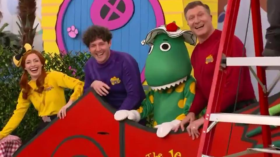 The Wiggles members Purple Wiggle Lachlan Gillespie, Yellow Wiggle Emma Watkins and Red Wiggle Simon Pryce on The Project