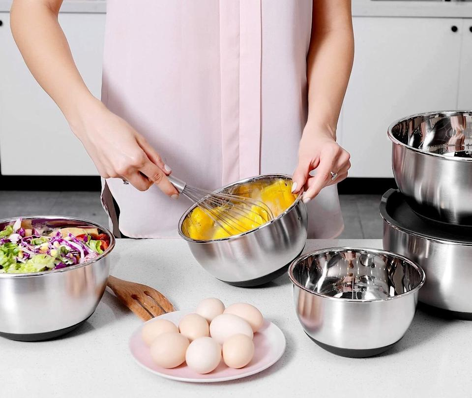 "It's time to swap out the bowls you've had for 20 years with these sleek ones. This set of bowls even has silicone nonstick bottoms to prevent your bowl from sliding around while you toss a pasta salad or whisk eggs. They also come with lids.<br /><br /><strong>Promising review:</strong> ""A VERY outstanding set of bowls. They are built to last a long, long time, very attractive stainless steel, inside measurements and a protective bottom to save your countertops. Very well though out, great sealing lids. I gave 4 stars for weight but that is a good thing!!!! These bowls are heavy duty and the 4-star rating is deceiving because these are not cheap, thinly made.... they are sturdy and robust!!!"" — <a href=""https://amzn.to/3afKcEe"" target=""_blank"" rel=""nofollow noopener noreferrer"" data-skimlinks-tracking=""5723569"" data-vars-affiliate=""Amazon"" data-vars-href=""https://www.amazon.com/gp/customer-reviews/R1E2Y975429972?tag=bfjasmin-20&ascsubtag=5723569%2C10%2C31%2Cmobile_web%2C0%2C0%2C0"" data-vars-keywords=""cleaning,fast fashion"" data-vars-link-id=""0"" data-vars-price="""" data-vars-retailers=""Amazon"">Richard A Norman</a><br /><br /><strong>Get a set of five from Amazon for <a href=""https://amzn.to/2RFL6Ue"" target=""_blank"" rel=""noopener noreferrer"">$32.99</a>.</strong>"