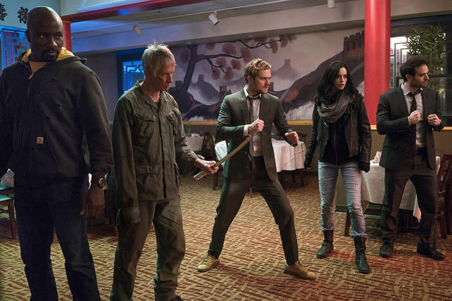 "<p><strong>The 1-Sentence Pitch:</strong> ""Four people with abilities from different corners of New York have to unite to take on a challenge,"" says <em>Defenders </em>showrunner, Marco Ramirez, about Netflix's all-star Marvel team-up that unites Daredevil, Jessica Jones, Luke Cage and Iron Fist. ""But emotionally, it's really about four orphans who come together and form a family by accident.""<br><br><strong>What to Expect:</strong> The heroes join up, <em>Avengers</em> style, to combat a new threat in the form of Sigourney Weaver's mysterious mastermind, Alexandra. ""This series has its own identity,"" says Ramirez, who previously oversaw <em>Daredevil</em>'s second season with Doug Petrie. ""The tone is sewn together organically from the worlds of the other shows."" That approach extends to the action sequences as well, which will naturally make room for the kind of <a href=""https://www.yahoo.com/tv/daredevil-season-2-inside-that-bone-breaking-162240813.html"" data-ylk=""slk:bone-crunching hallway brawl"" class=""link rapid-noclick-resp"">bone-crunching hallway brawl</a> that Netflix's Marvel shows are famed for. ""We wanted to borrow all the fighting styles from the different shows,"" teases Ramirez. ""My favorite is the <em>Jessica Jones</em>, 'I don't even want to f–king be here' kind of fight.""<br><br><strong>Ripley 4EVA:</strong> The <em>Alien </em>franchise forever enshrined Sigourney Weaver in the action movie hall of fame. But even after all these years, she's eager to learn new fighting tricks. Ramirez remembers talking with the former Ellen Ripley about some of the fights featured in <em>The Defenders</em>. ""We were discussing fight choreography and vocabulary, and at some point, she said, 'That word is new to me. I'm not so much a martial arts type of gal — I'm more a 'hold the flamethrower' type of gal."" <em>— EA</em><br><br>(Photo: Sarah Shatz/Netflix) </p>"